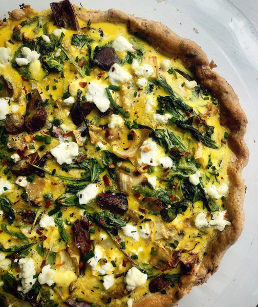 Spinach and Mushroom Quiche with a Buttery Garlic-Chive Crust