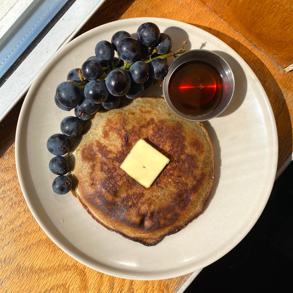 Concord Grape Cornmeal Pancakes