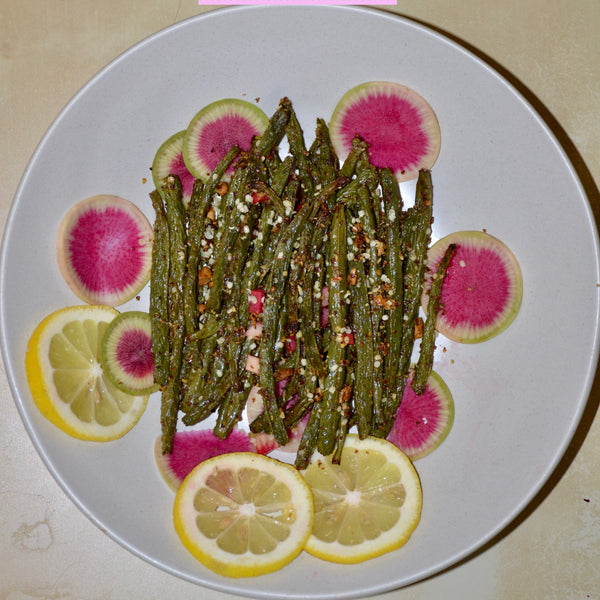 Garlic & Seed Crusted Green Beans