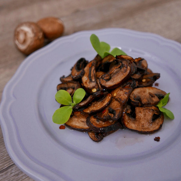 Maple Apple Cider Glazed Mushrooms