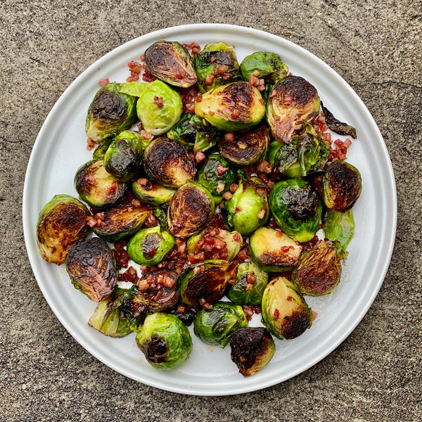 Maple-Glazed Brussels Sprouts with Pancetta