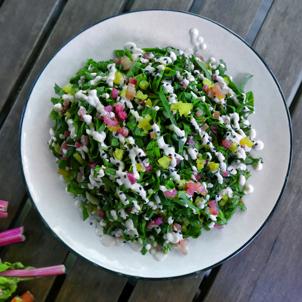 Pickled Rainbow Chard Salad with Tofu Dressing
