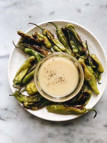 Shishito Peppers with Tahini Dipping Sauce