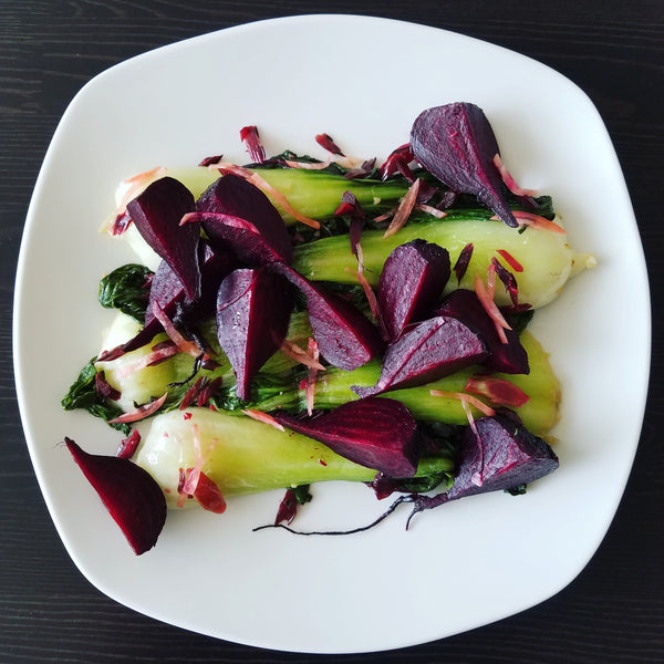 Roasted Beets with Beet and Radish Greens