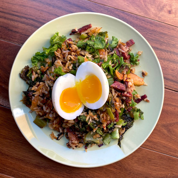 Pastrami Kimchi Fried Rice with Mustard Greens