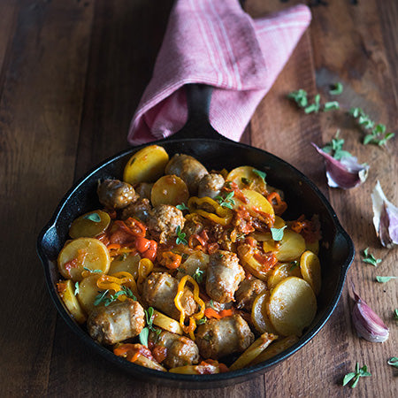 Sausages, Tomatoes, Peppers, And Potatoes In Padella
