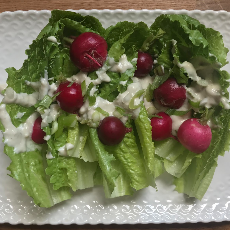 Romaine with Radishes & Blue Cheese Dressing