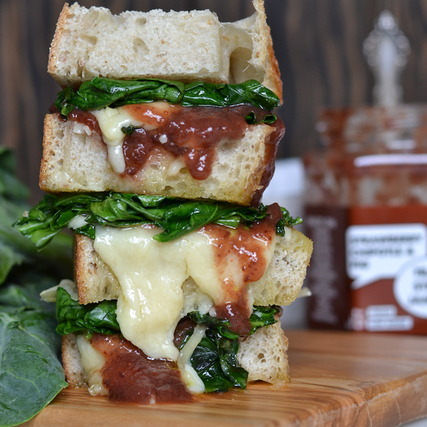 Gruyere, Fig Jam & Wilted Gai Lan Sandwich