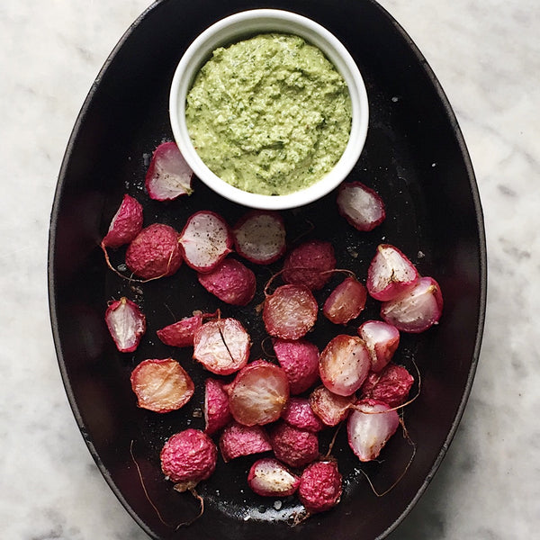 Roasted Radishes with Radish Top Pesto