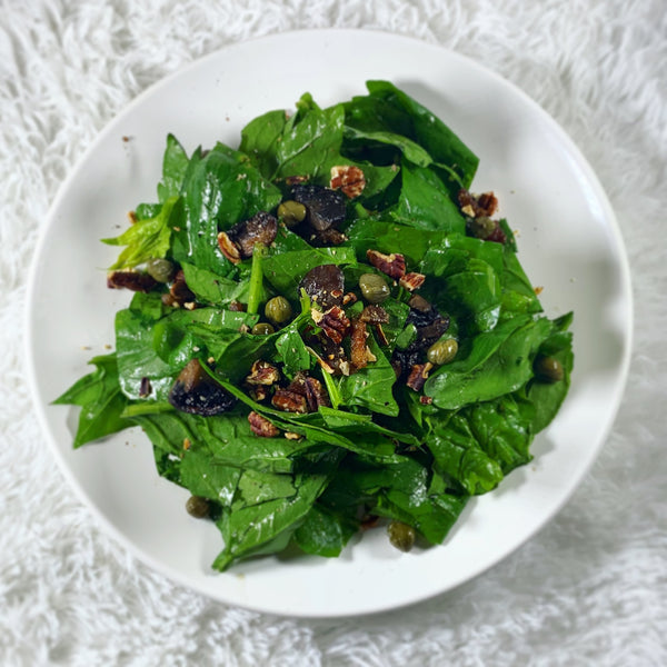 Wilted Spinach, Bacon & Cremini Mushroom Salad