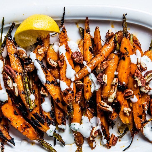 Barbecue Carrots & Turnips with Yogurt & Pecans