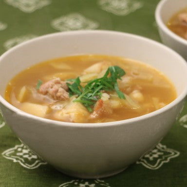 Celeriac and Cabbage Soup With Sausage