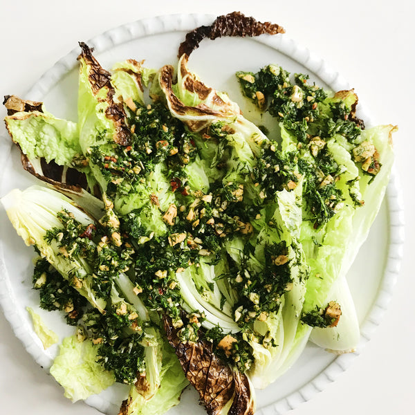 Crispy Broiled Napa Cabbage with Dill Vinaigrette
