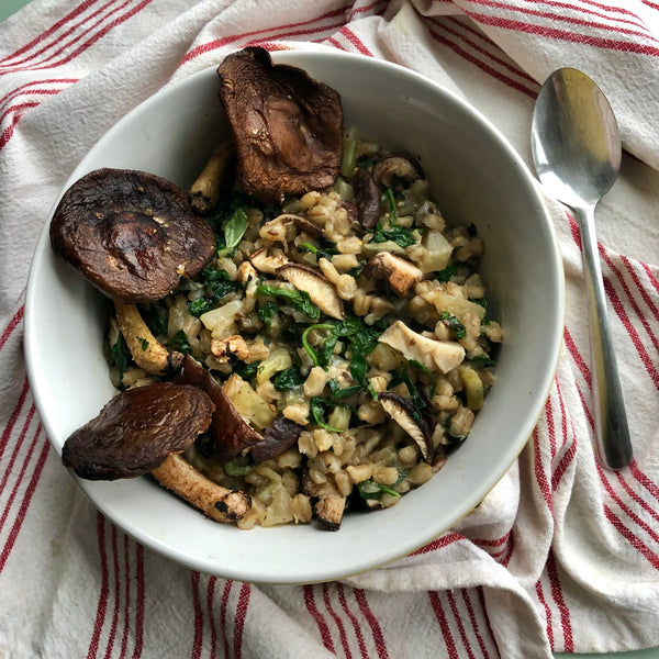 Herb Farro Risotto with Arugula and Roasted Mushrooms