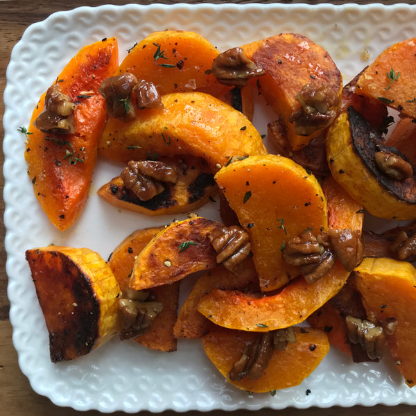Roasted Winter Squash with Candied Maple Pecans