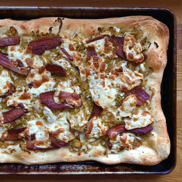 Savoy Cabbage Pizza with Bacon and Smoked Mozzarella