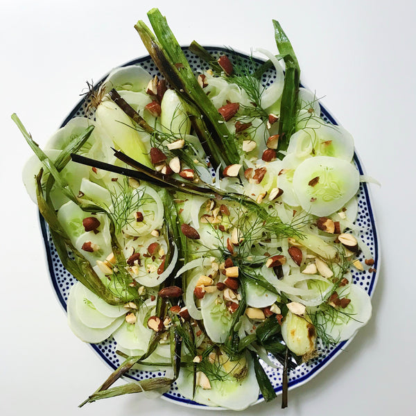 Cucumber-Fennel Salad with Charred Spring Onions
