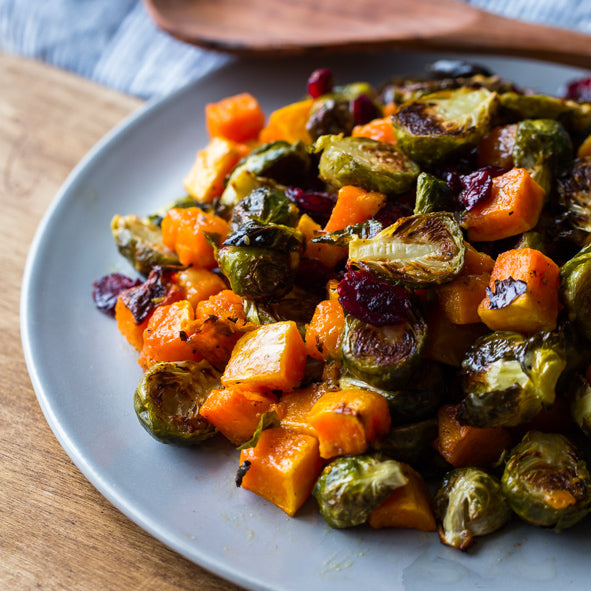 Roasted Brussels Sprouts and Squash with Mustard Vinaigrette