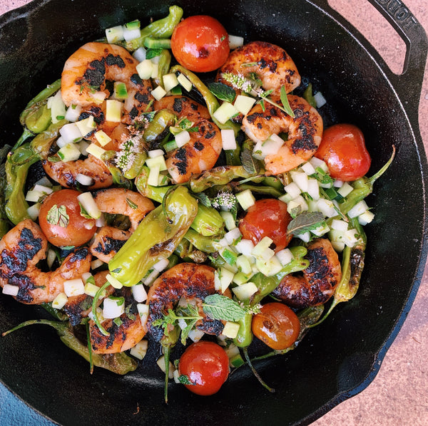 Charred Shrimp and Shishitos with a Cucumber-Honeydew Relish