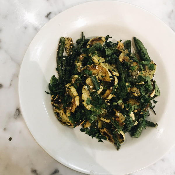 Roasted DelicataSquash & Green Bean Salad with Za'tar Dressing