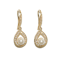 AVOS Cubic Zirconia Precious Pearl Gold Earrings