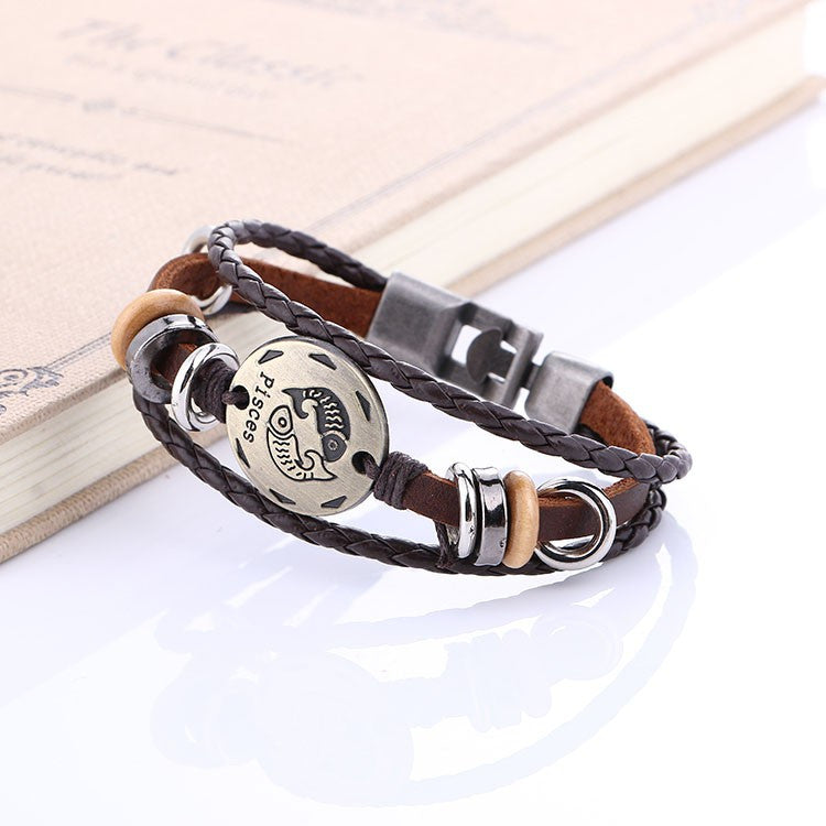 Leather Bracelet Zodiac Signs Men Fashion Jewelry - FREE JUST PAY SHIPPING!