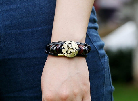 Leather Bracelet Zodiac Signs Woman Fashion Jewelry - FREE JUST PAY SHIPPING!
