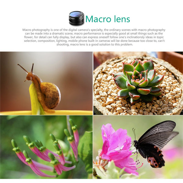 High Quality Optic Lens 160 Fisheye Lens + 20x Macro Mini Clip-on Cell Phone Camera Lenses Kit for Samsung, Apple & More