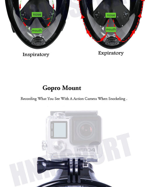 Full Face Anti-fog, Anti-Leak Gopro Camera Snorkel Mask