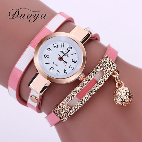 Duoya Luxury Womens Vintage Gold Crystal Bracelet Wristwatch With Dangle Charm