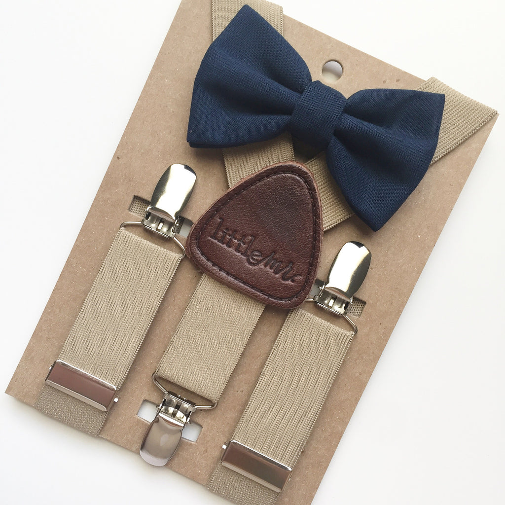 Navy Bowtie & Suspender Set