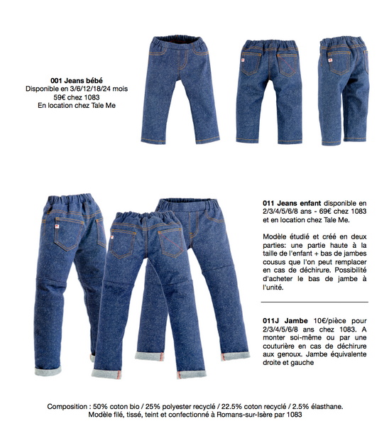 jean enfant bebe location made in France tale me 1083