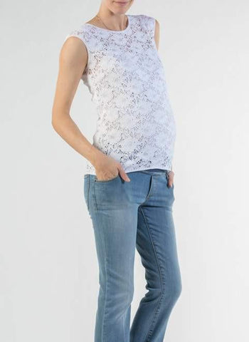 Top Blanc Pizzo-Haut manches courtes-Tale Me