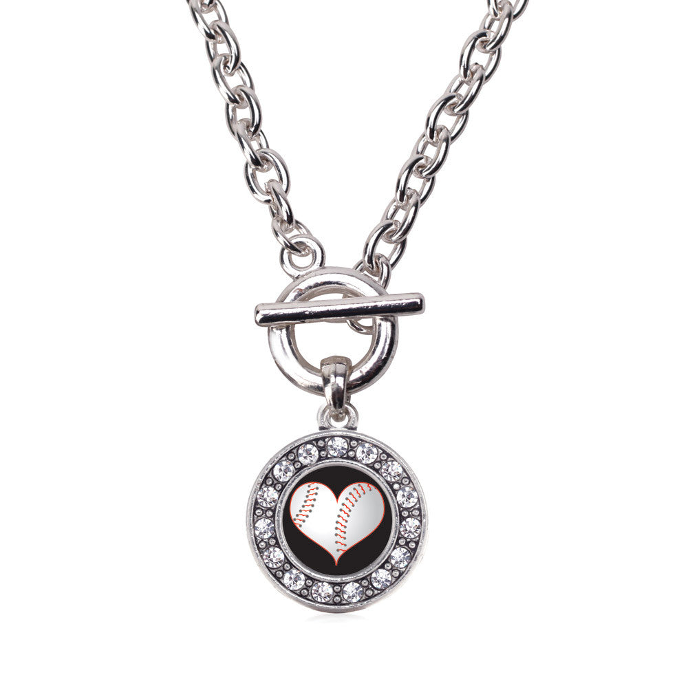 Heart Of A Baseball Player Circle Charm