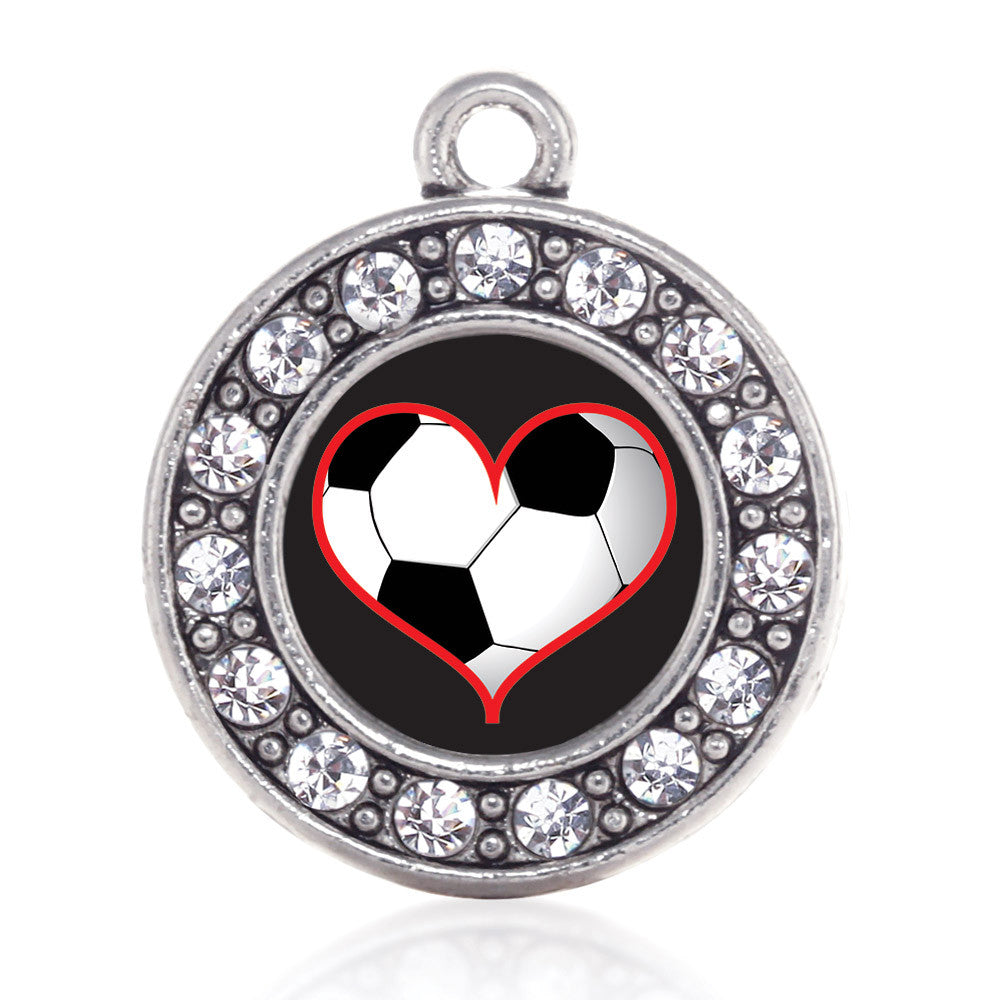 Heart Of A Soccer Player Circle Charm