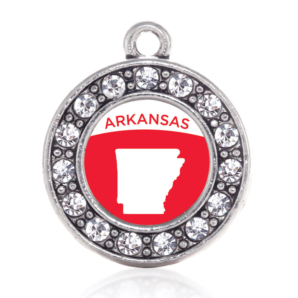 Arkansas Outline Circle Charm