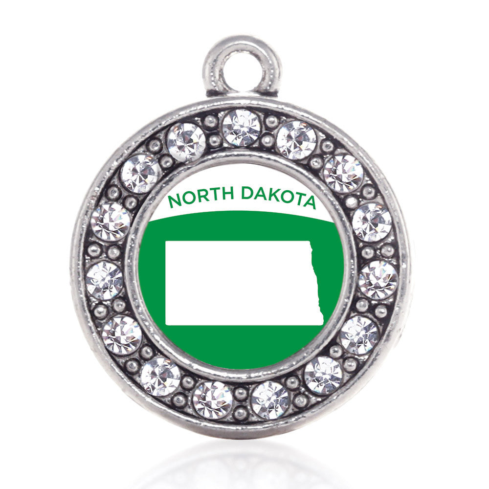 North Dakota Outline Circle Charm