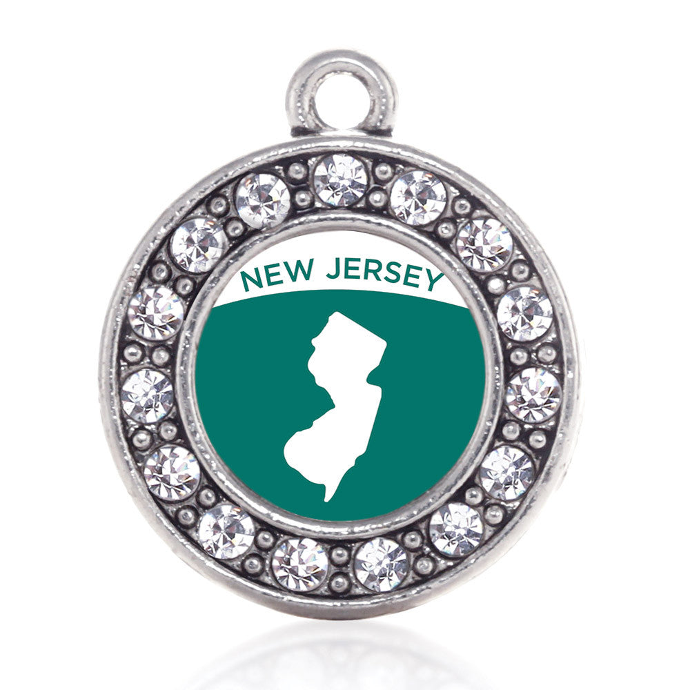New Jersey Outline Circle Charm