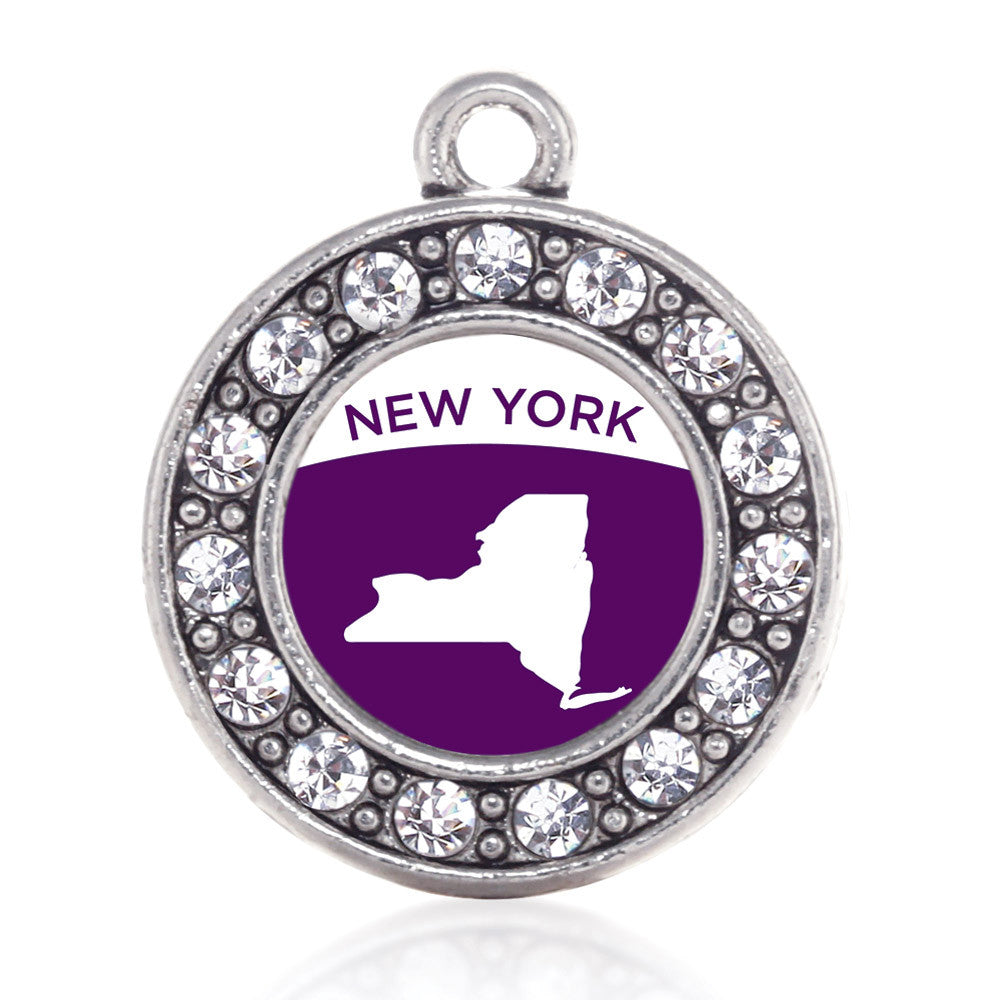 New York Outline Circle Charm