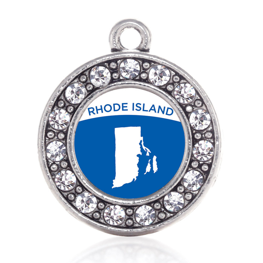 Rhode Island Outline Circle Charm