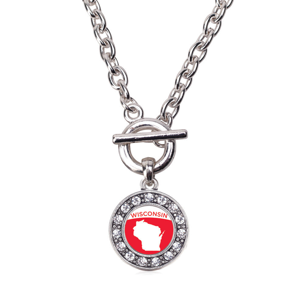 Wisconsin Outline Circle Charm