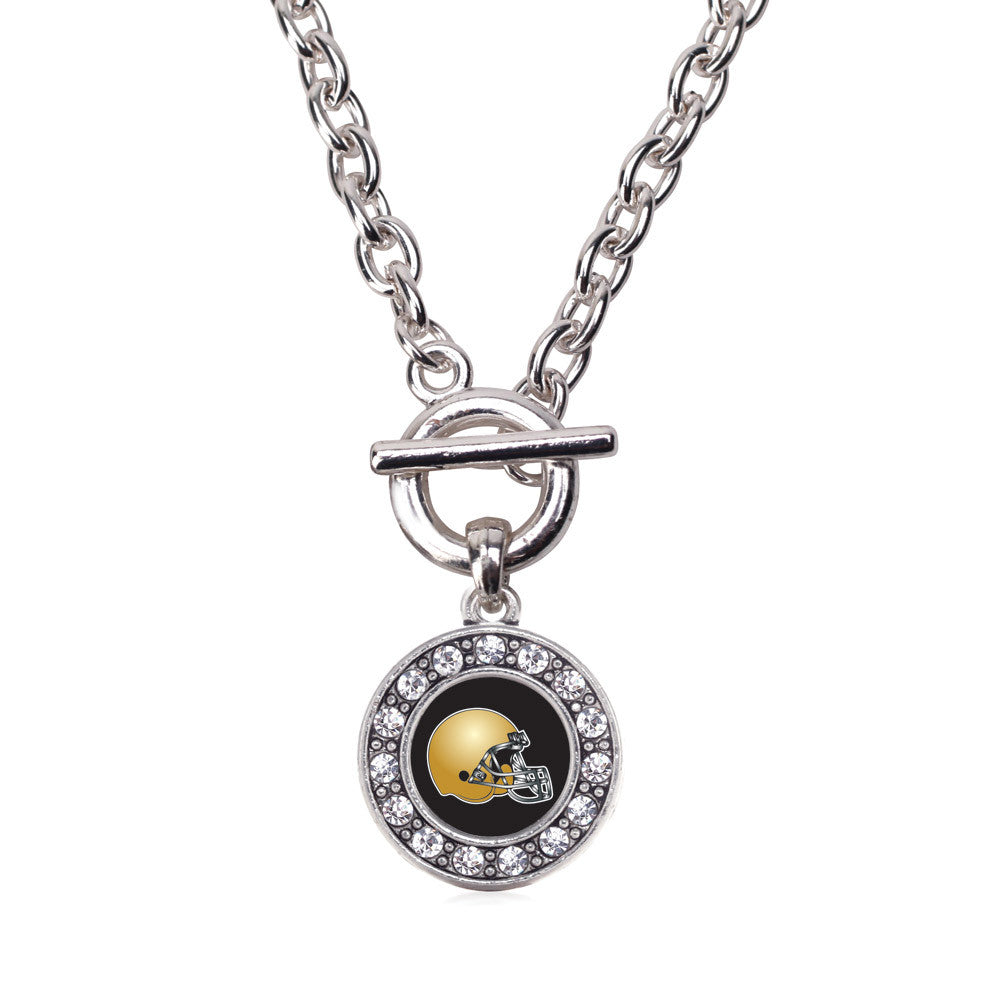 Black and Gold Team Helmet Circle Charm