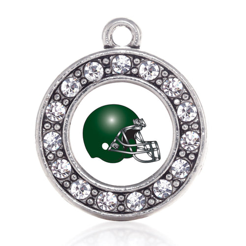 White and Green Team Helmet Circle Charm