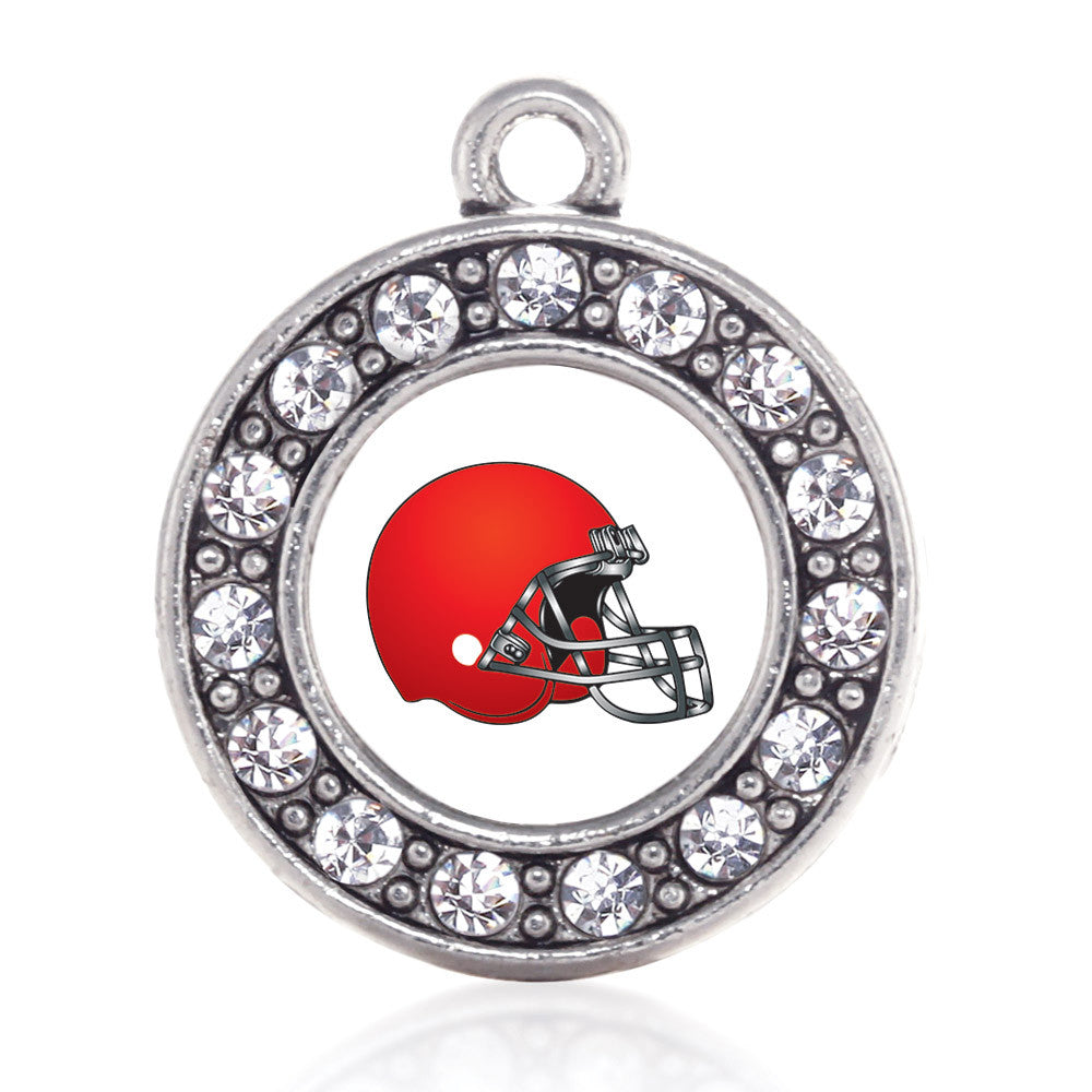 Red and White Team Helmet Circle Charm