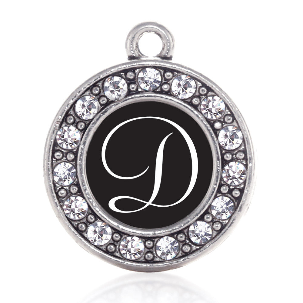 my script initials letter d circle charm inspiredcharms