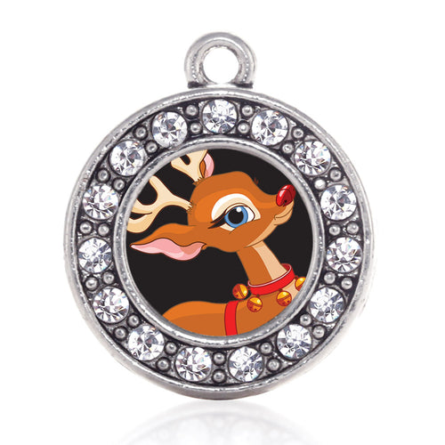 Red Nosed Reindeer Circle Charm