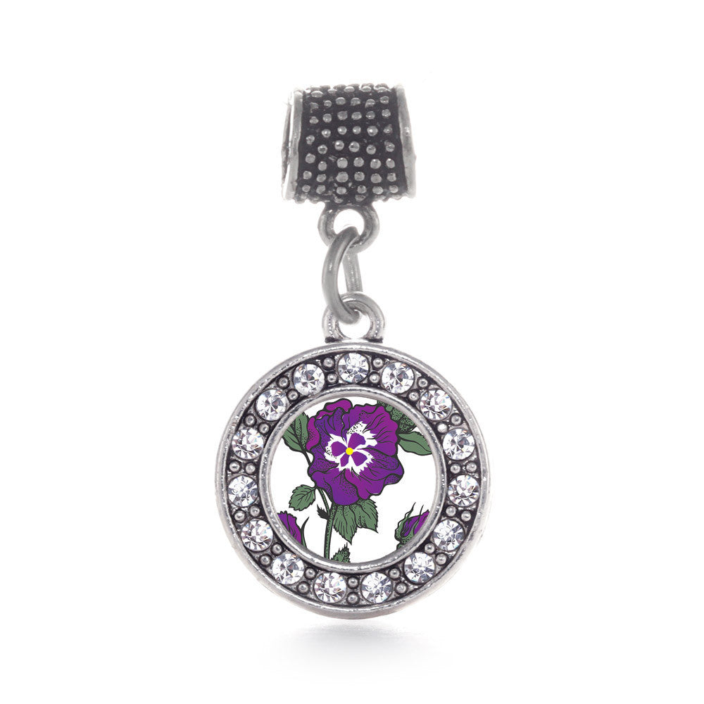 Pansy Flower Circle Charm