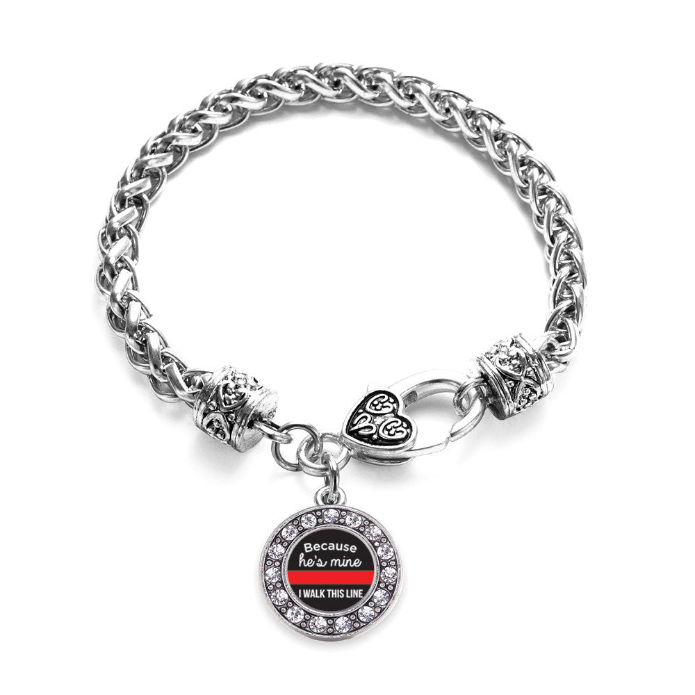 Because He's Mine Red Line Circle Charm