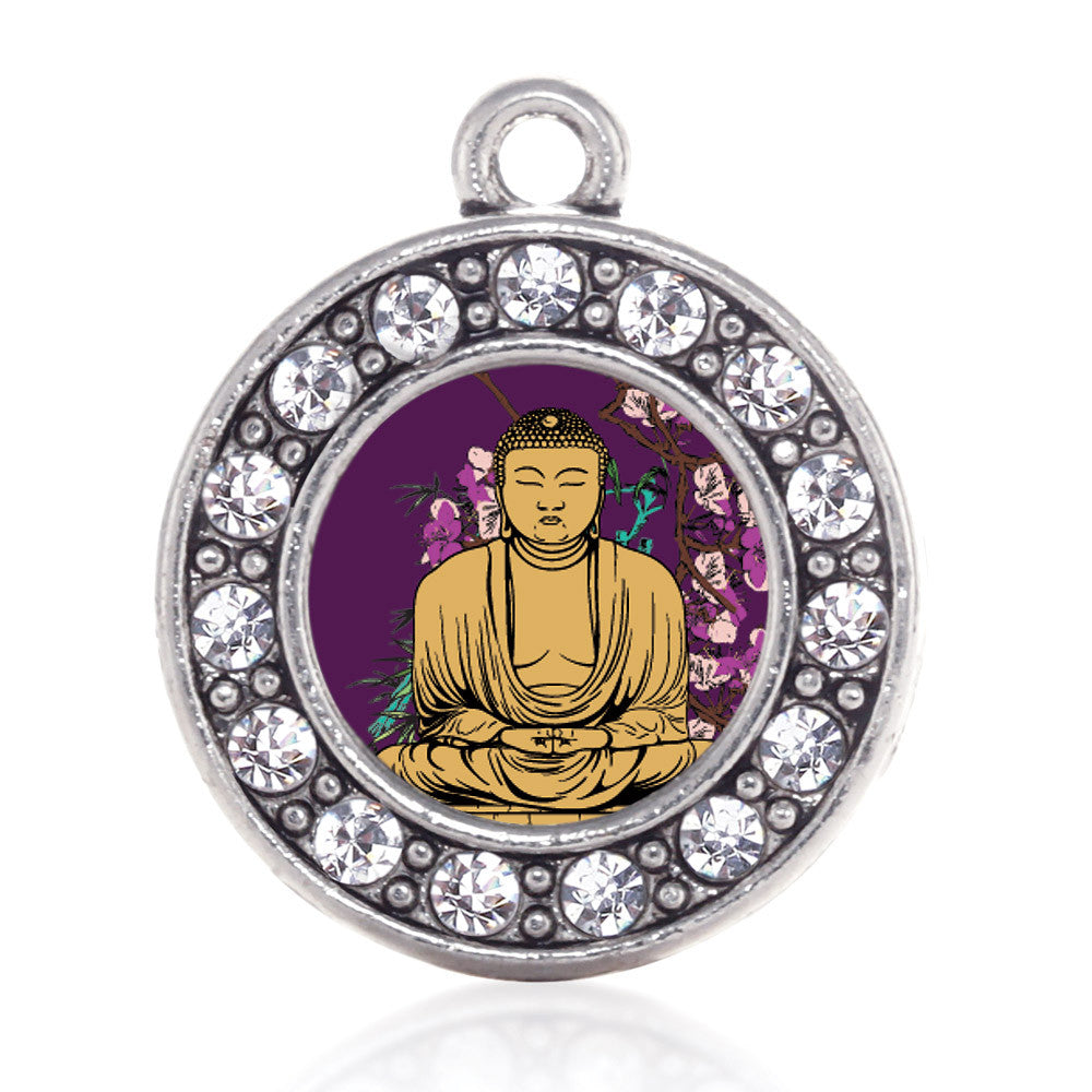 Buddha And Cherry Blossoms Circle Charm