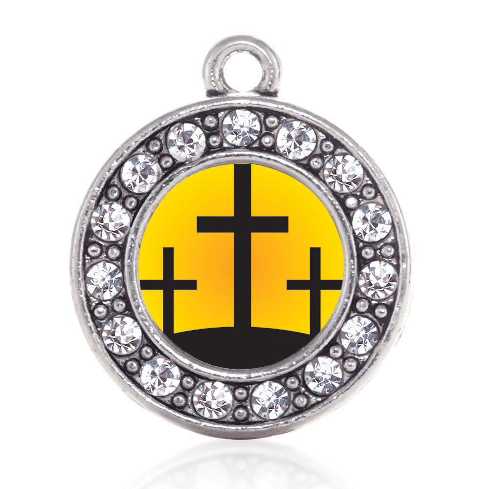 Three Crosses Circle Charm